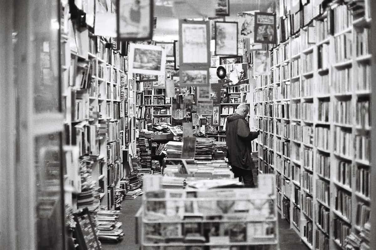 crowded bookstore