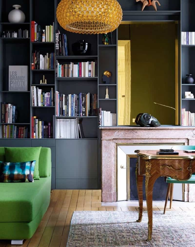 paris apartment interiors fireplace
