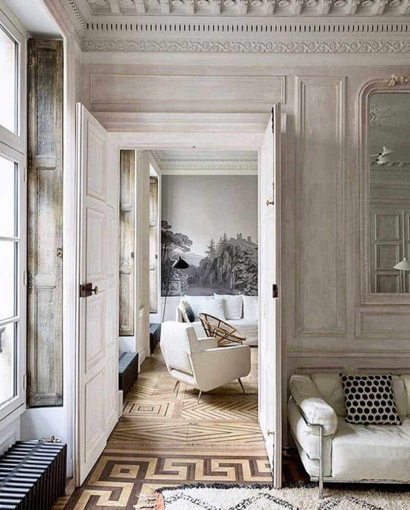 paris apartment interiors walls